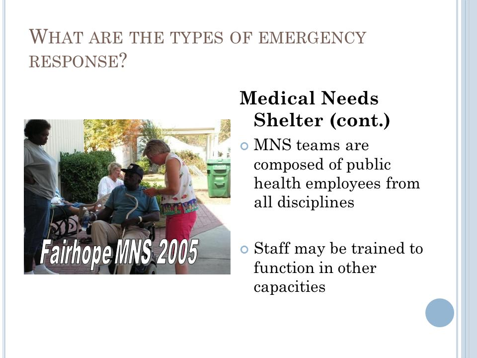 W HAT ARE THE TYPES OF EMERGENCY RESPONSE .