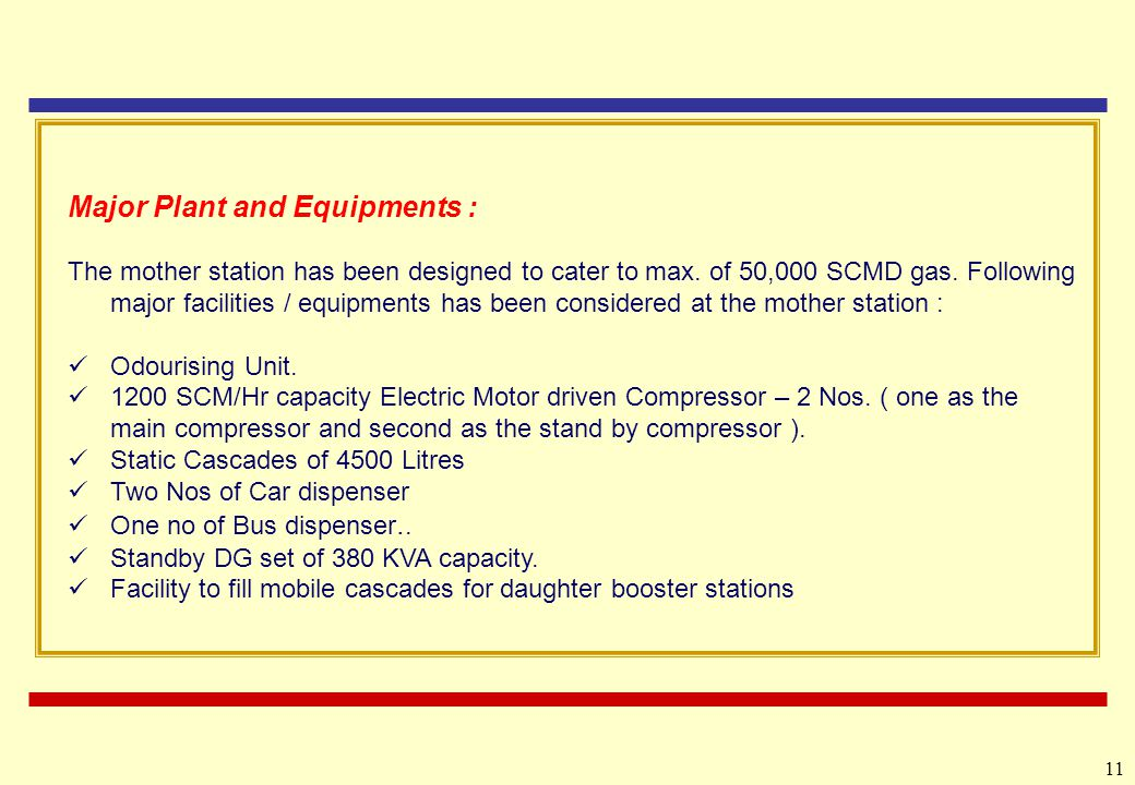 11 Major Plant and Equipments : The mother station has been designed to cater to max.
