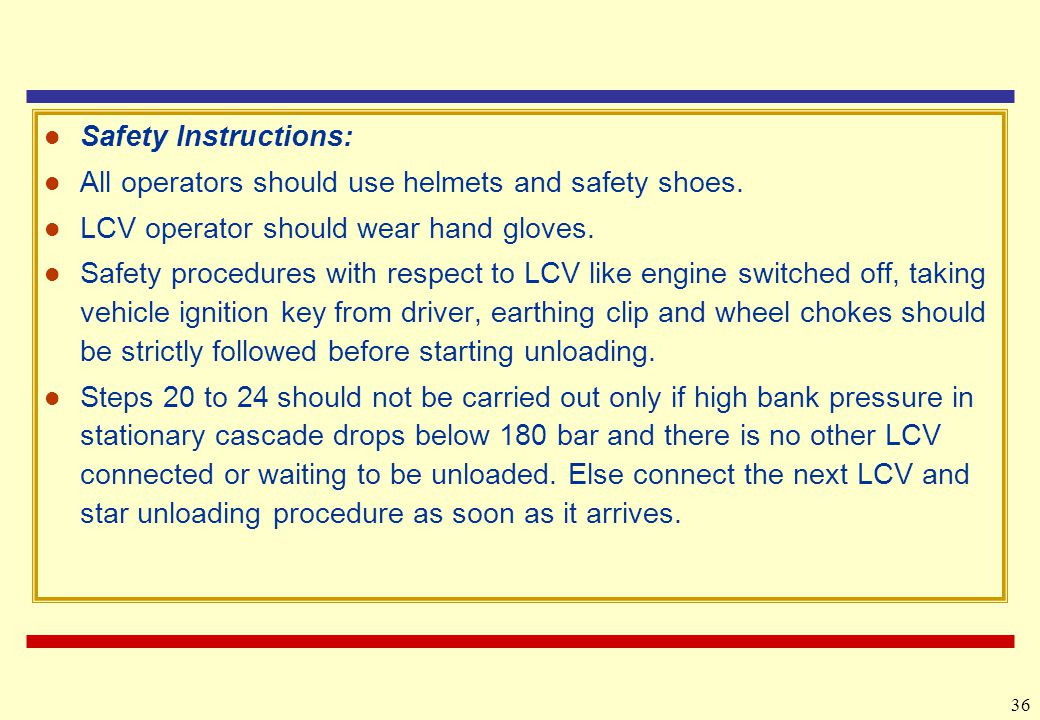 36 Safety Instructions: All operators should use helmets and safety shoes.