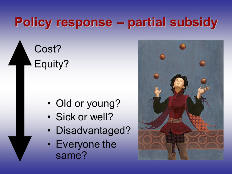 Policy response – partial subsidy Old or young. Sick or well.