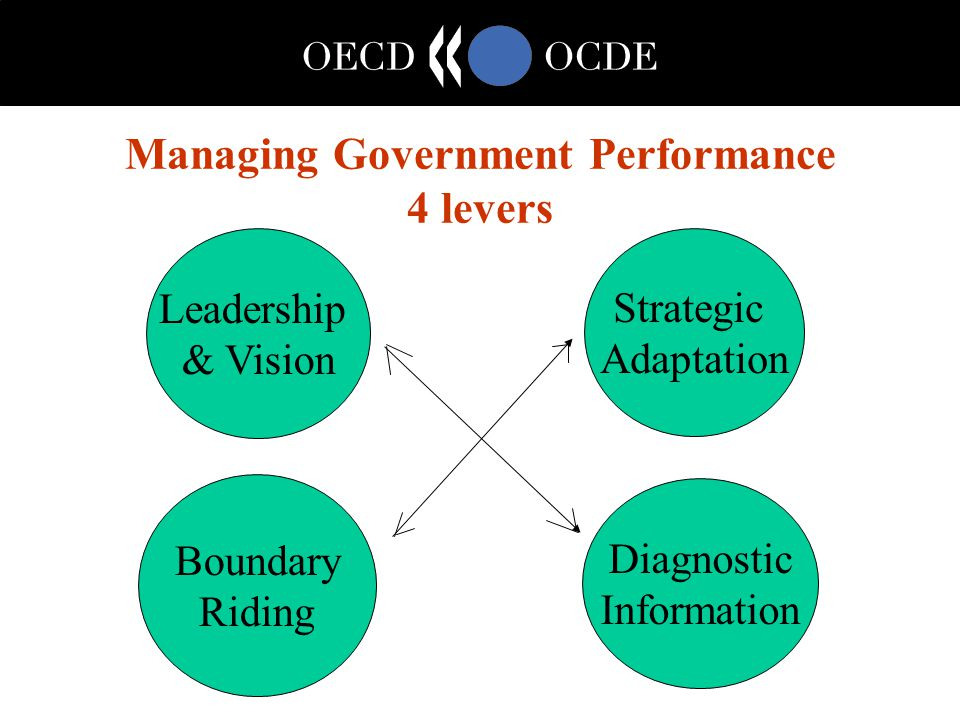 Managing Government Performance 4 levers Leadership & Vision Strategic Adaptation Boundary Riding Diagnostic Information