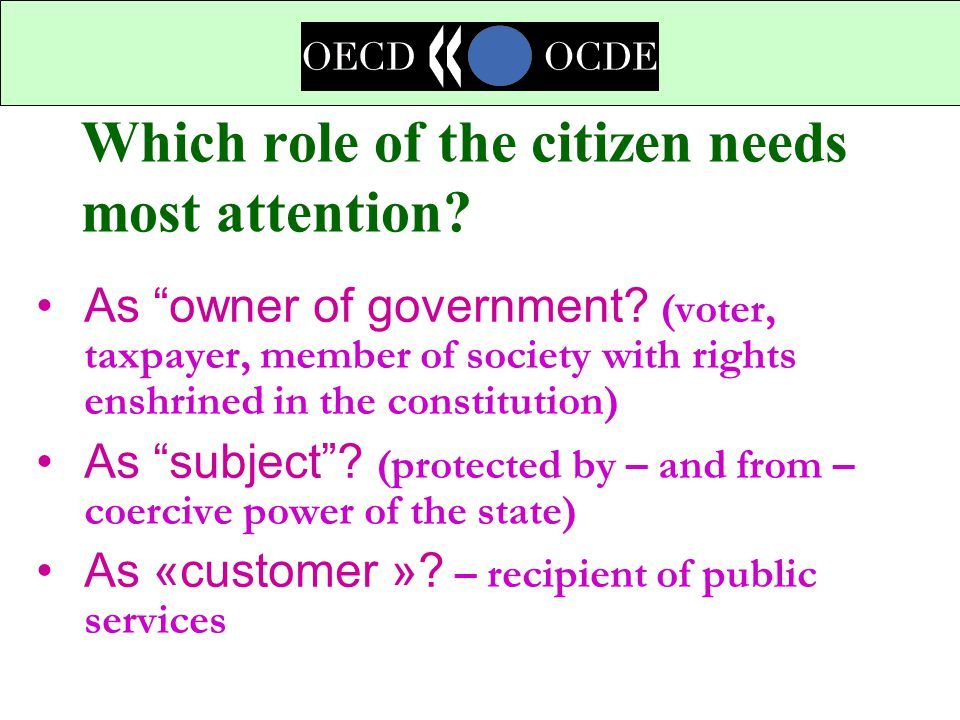 Which role of the citizen needs most attention.As owner of government.