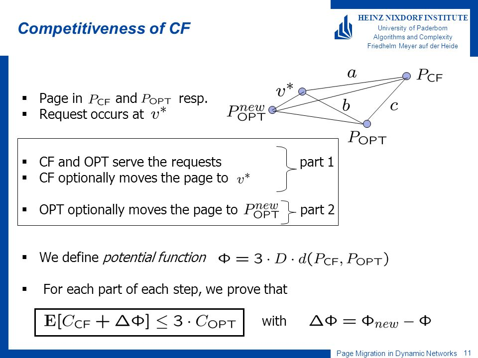 Page Migration in Dynamic Networks 11 HEINZ NIXDORF INSTITUTE University of Paderborn Algorithms and Complexity Friedhelm Meyer auf der Heide Competitiveness of CF Page in and resp.
