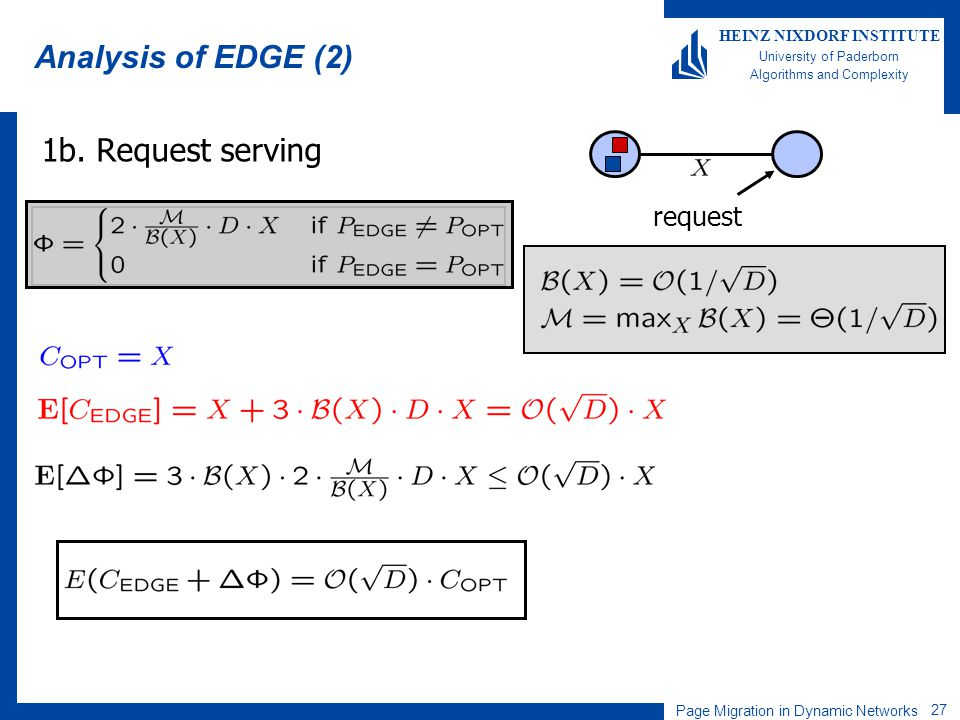 Page Migration in Dynamic Networks 27 HEINZ NIXDORF INSTITUTE University of Paderborn Algorithms and Complexity Analysis of EDGE (2) 1b. Request servi