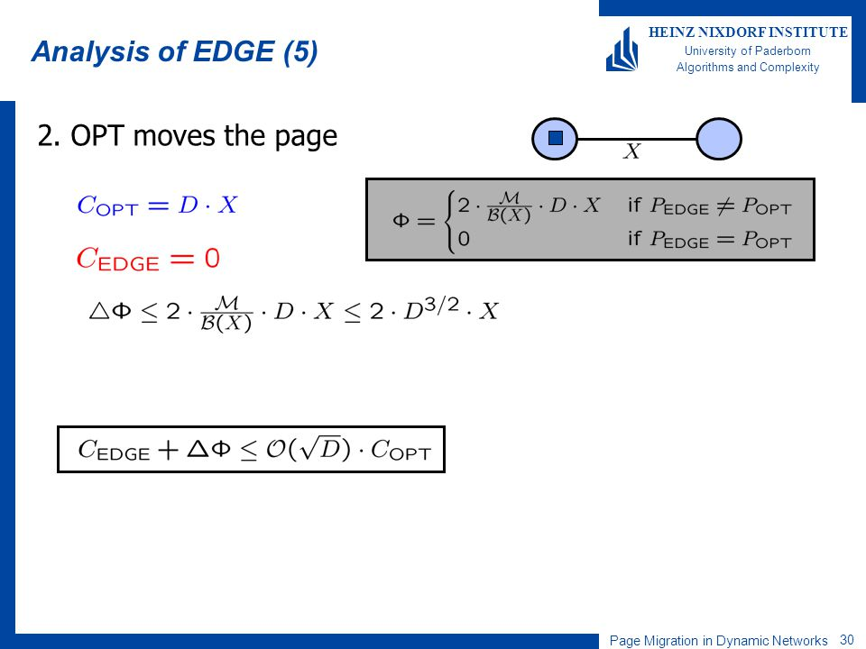 Page Migration in Dynamic Networks 30 HEINZ NIXDORF INSTITUTE University of Paderborn Algorithms and Complexity Analysis of EDGE (5) 2. OPT moves the