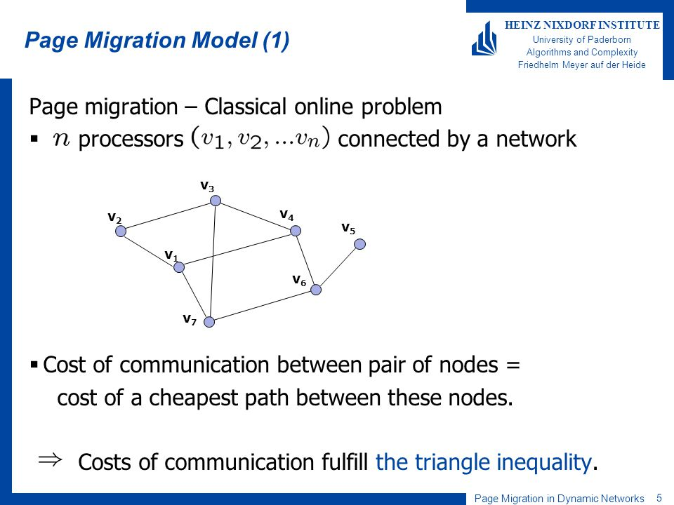 Page Migration in Dynamic Networks 5 HEINZ NIXDORF INSTITUTE University of Paderborn Algorithms and Complexity Friedhelm Meyer auf der Heide Page migr