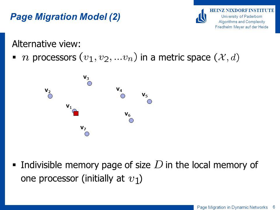 Page Migration in Dynamic Networks 6 HEINZ NIXDORF INSTITUTE University of Paderborn Algorithms and Complexity Friedhelm Meyer auf der Heide Alternati