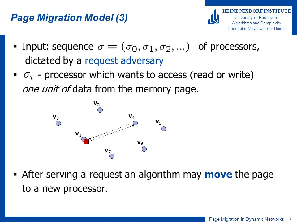 Page Migration in Dynamic Networks 7 HEINZ NIXDORF INSTITUTE University of Paderborn Algorithms and Complexity Friedhelm Meyer auf der Heide Page Migr