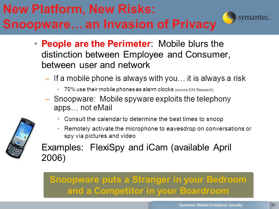 Symantec Mobile Enterprise Security10 People are the Perimeter: Mobile blurs the distinction between Employee and Consumer, between user and network –If a mobile phone is always with you… it is always a risk 70% use their mobile phones as alarm clocks (source ICM Research) –Snoopware: Mobile spyware exploits the telephony apps… not eMail Consult the calendar to determine the best times to snoop Remotely activate the microphone to eavesdrop on conversations or spy via pictures and video Examples: FlexiSpy and iCam (available April 2006) New Platform, New Risks: Snoopware… an Invasion of Privacy Snoopware puts a Stranger in your Bedroom and a Competitor in your Boardroom