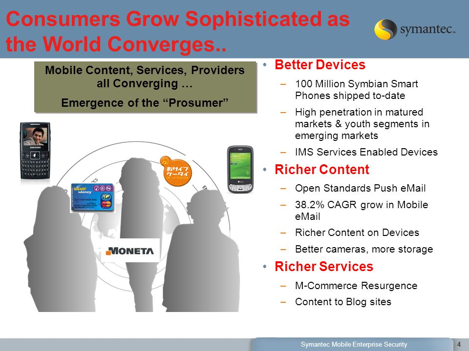 Symantec Mobile Enterprise Security4 Consumers Grow Sophisticated as the World Converges..