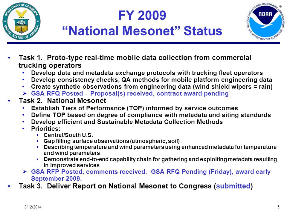 6/12/20145 FY 2009 National Mesonet Status Task 1. Proto-type real-time mobile data collection from commercial trucking operators Develop data and met