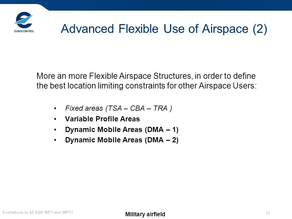 Evolutions in SESAR WP7 and WP13 11 Advanced Flexible Use of Airspace (2) Military airfield More an more Flexible Airspace Structures, in order to define the best location limiting constraints for other Airspace Users: Fixed areas (TSA – CBA – TRA ) Variable Profile Areas Dynamic Mobile Areas (DMA – 1) Dynamic Mobile Areas (DMA – 2)