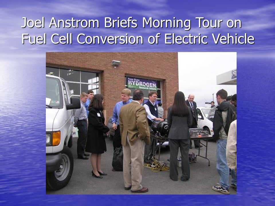Joel Anstrom Briefs Morning Tour on Fuel Cell Conversion of Electric Vehicle