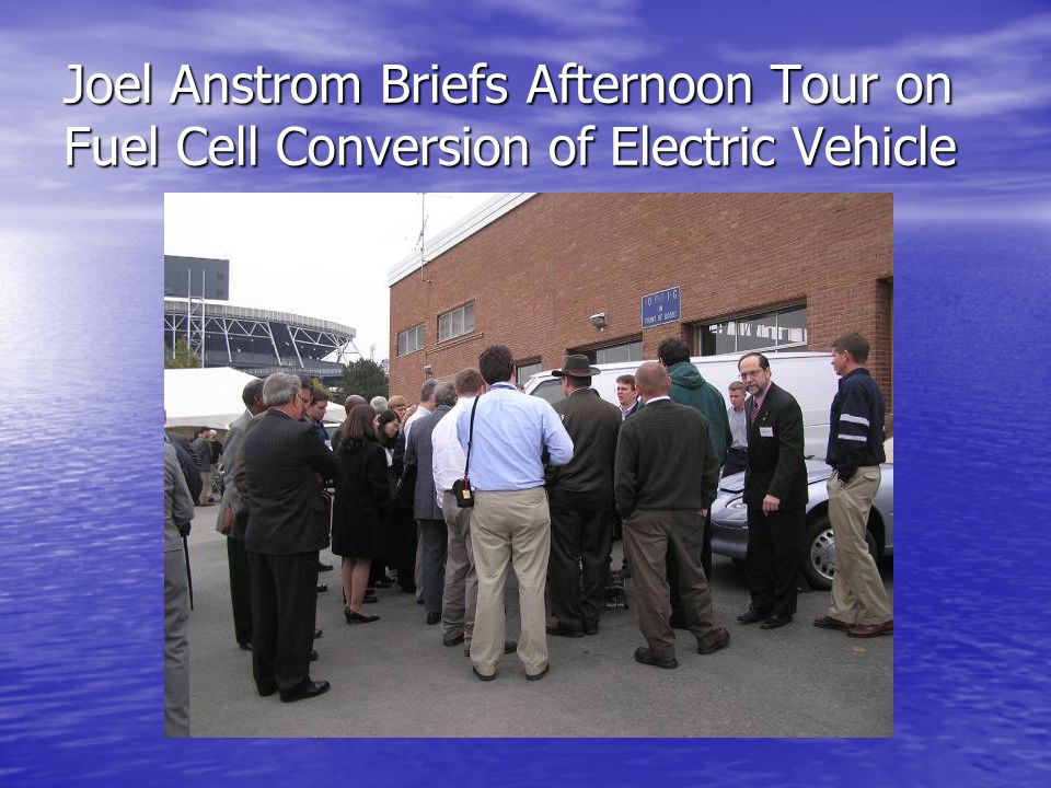 Joel Anstrom Briefs Afternoon Tour on Fuel Cell Conversion of Electric Vehicle