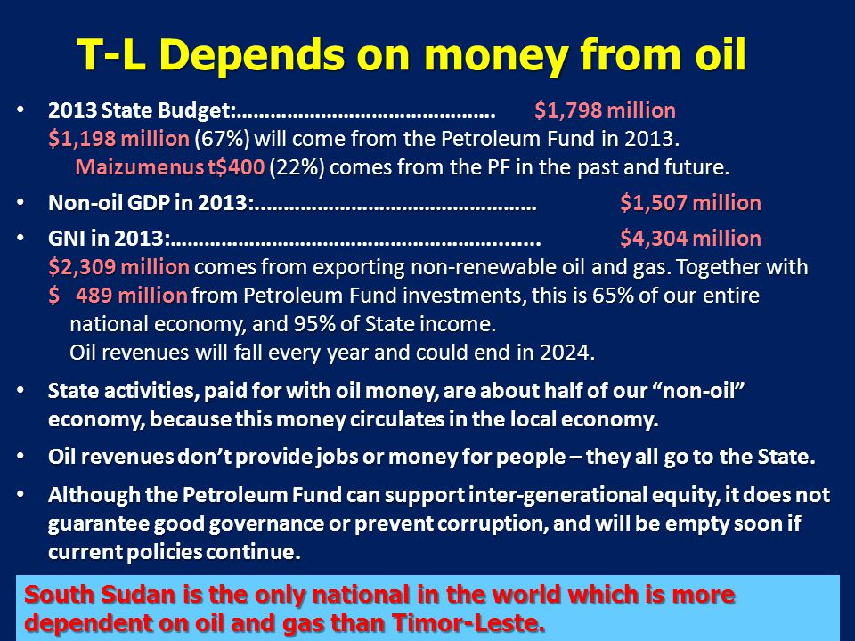 T-L Depends on money from oil $1,198 million (67%) will come from the Petroleum Fund in 2013.