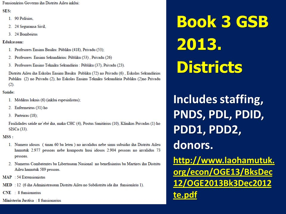Book 3 GSB 2013. Districts Includes staffing, PNDS, PDL, PDID, PDD1, PDD2, donors.