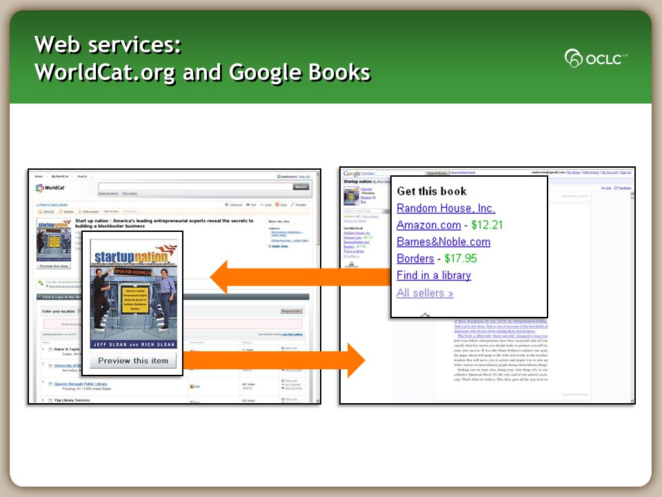 Web services: WorldCat.org and Google Books