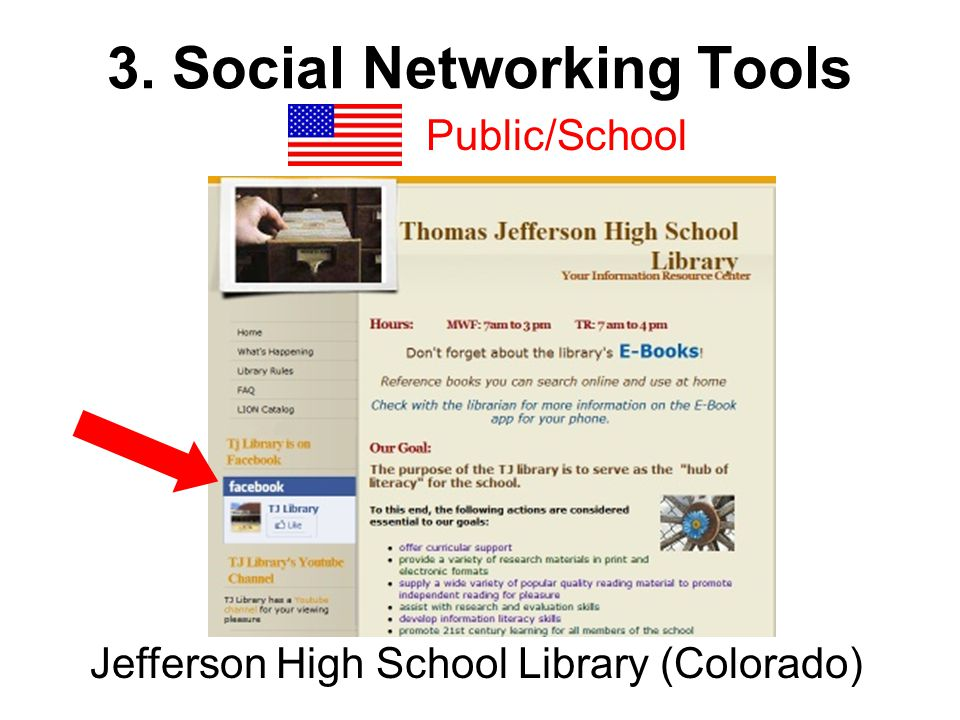 3. Social Networking Tools Public/School Jefferson High School Library (Colorado)