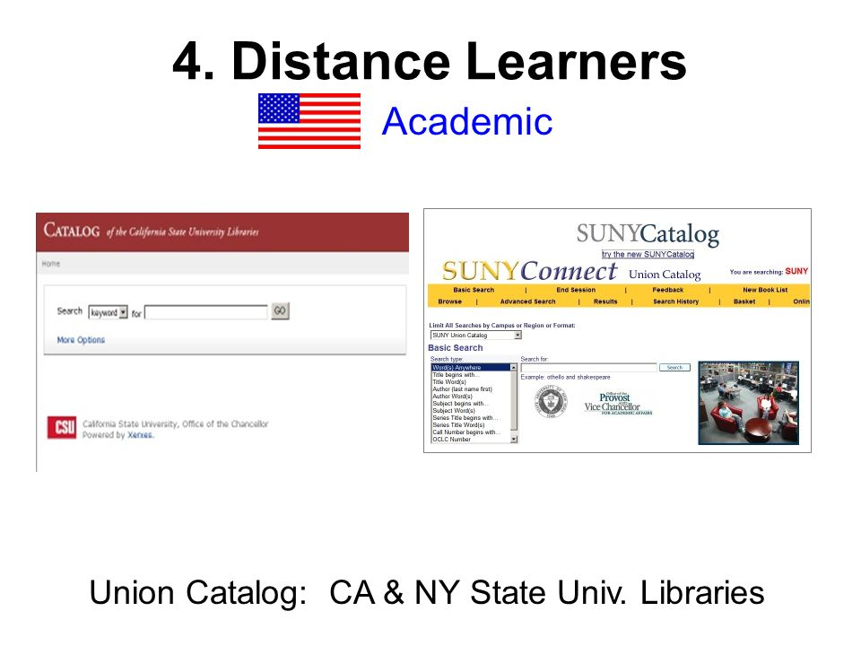 4. Distance Learners Academic Union Catalog: CA & NY State Univ. Libraries
