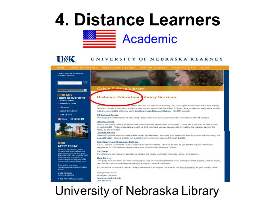 4. Distance Learners Academic University of Nebraska Library