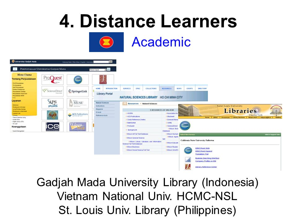 4. Distance Learners Academic Gadjah Mada University Library (Indonesia) Vietnam National Univ.