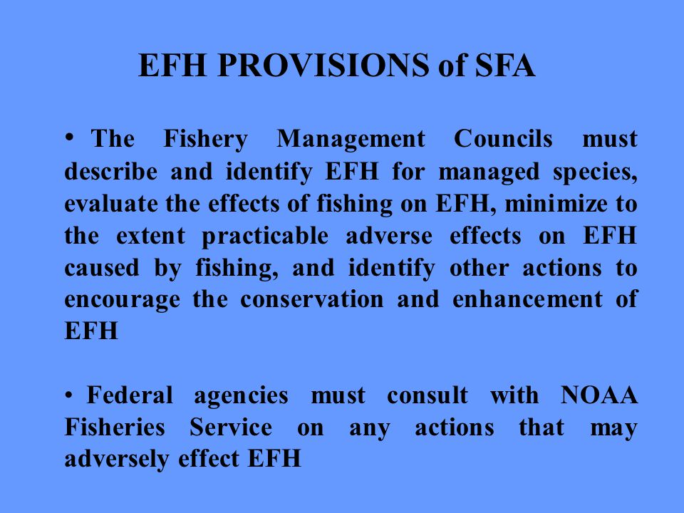 EFH PROVISIONS of SFA The Fishery Management Councils must describe and identify EFH for managed species, evaluate the effects of fishing on EFH, minimize to the extent practicable adverse effects on EFH caused by fishing, and identify other actions to encourage the conservation and enhancement of EFH Federal agencies must consult with NOAA Fisheries Service on any actions that may adversely effect EFH