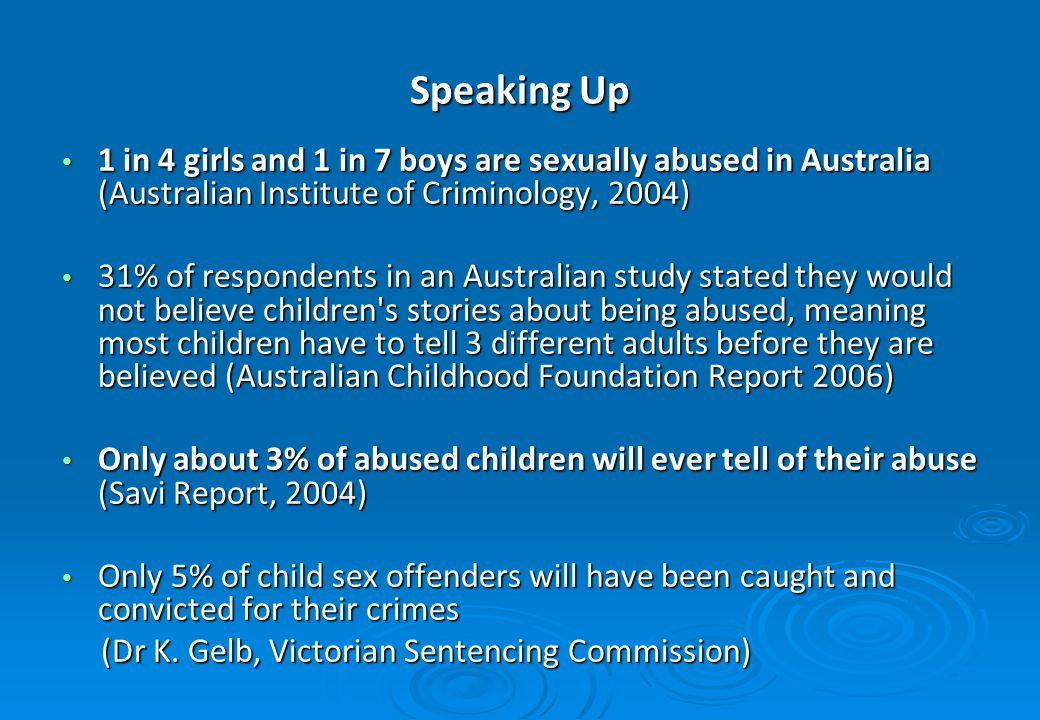 Speaking Up 1 in 4 girls and 1 in 7 boys are sexually abused in Australia (Australian Institute of Criminology, 2004) 1 in 4 girls and 1 in 7 boys are