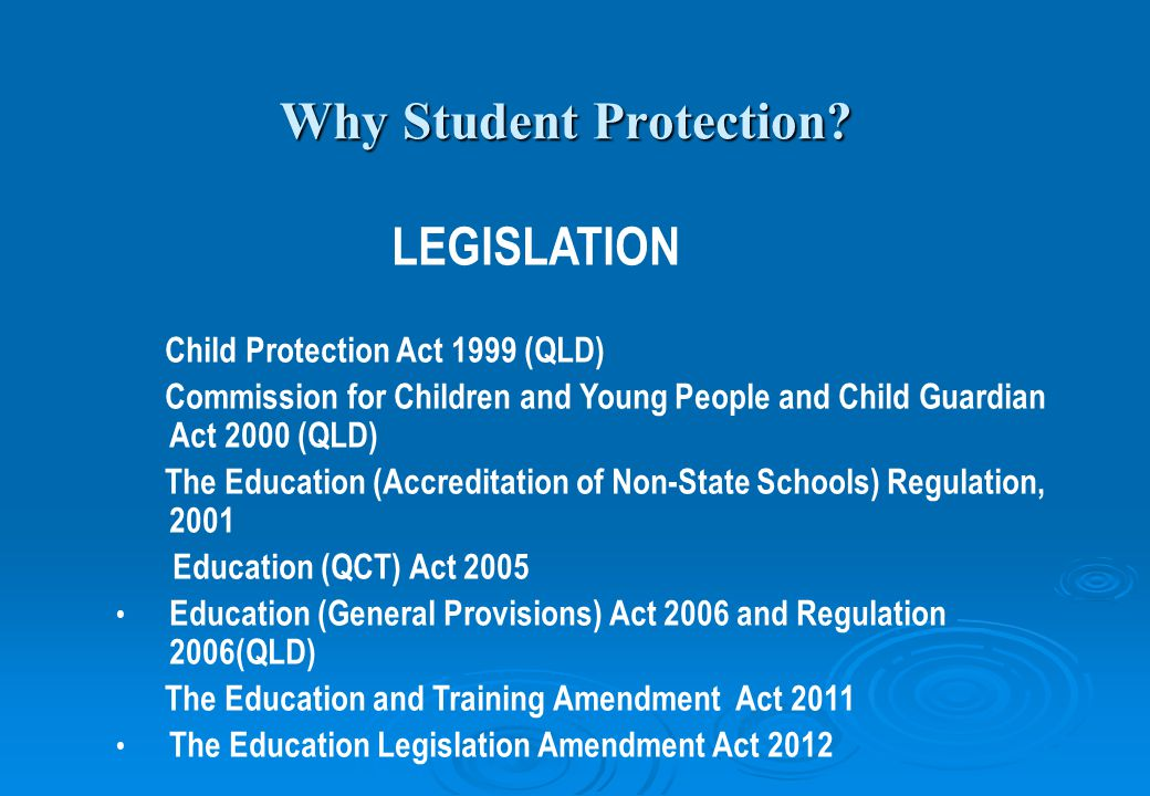 Why Student Protection.