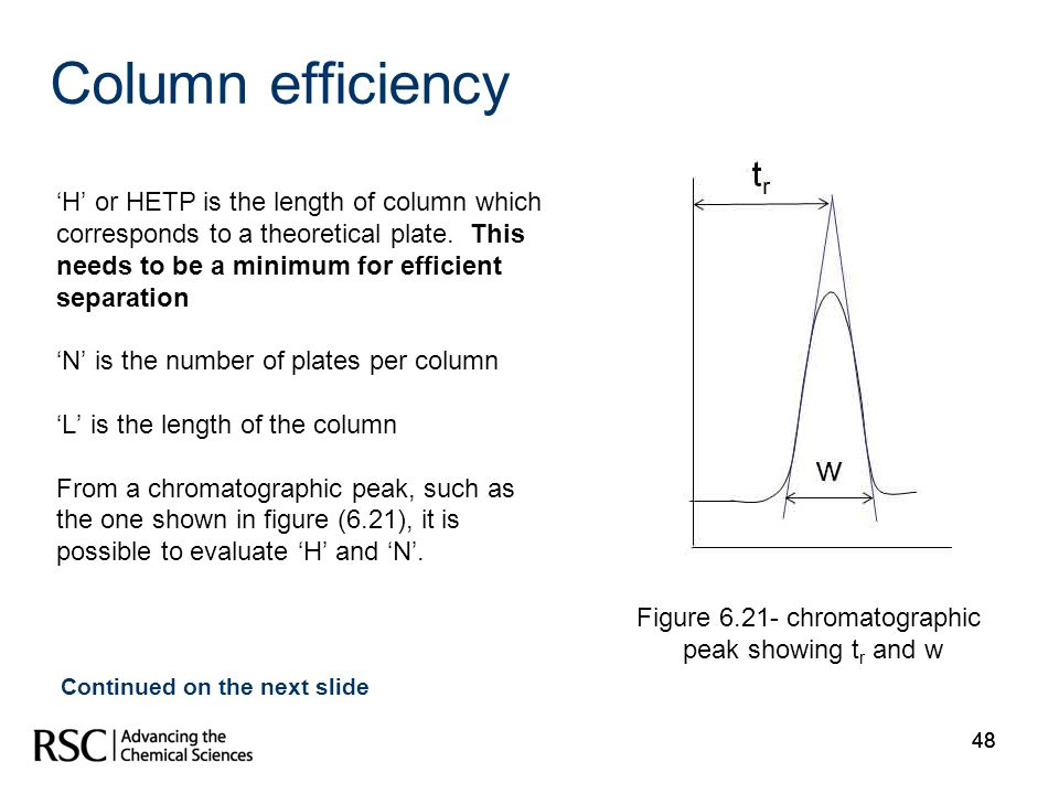 48 Column efficiency H or HETP is the length of column which corresponds to a theoretical plate. This needs to be a minimum for efficient separation N