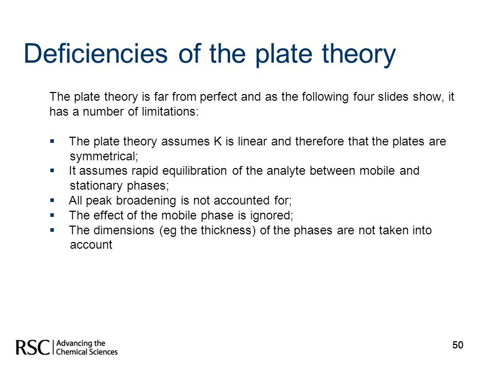 50 Deficiencies of the plate theory The plate theory is far from perfect and as the following four slides show, it has a number of limitations: The pl