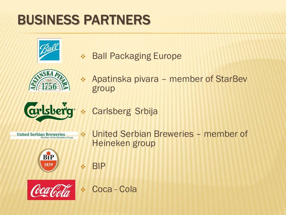 BUSINESS PARTNERS Ball Packaging Europe Apatinska pivara – member of StarBev group Carlsberg Srbija United Serbian Breweries – member of Heineken group BIP Coca - Cola