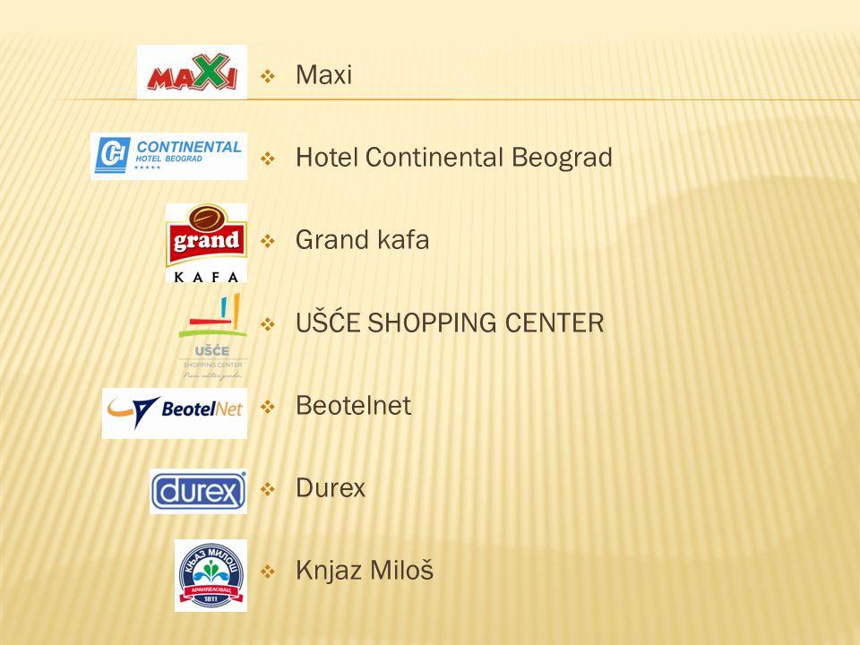 Maxi Hotel Continental Beograd Grand kafa UŠĆE SHOPPING CENTER Beotelnet Durex Knjaz Miloš