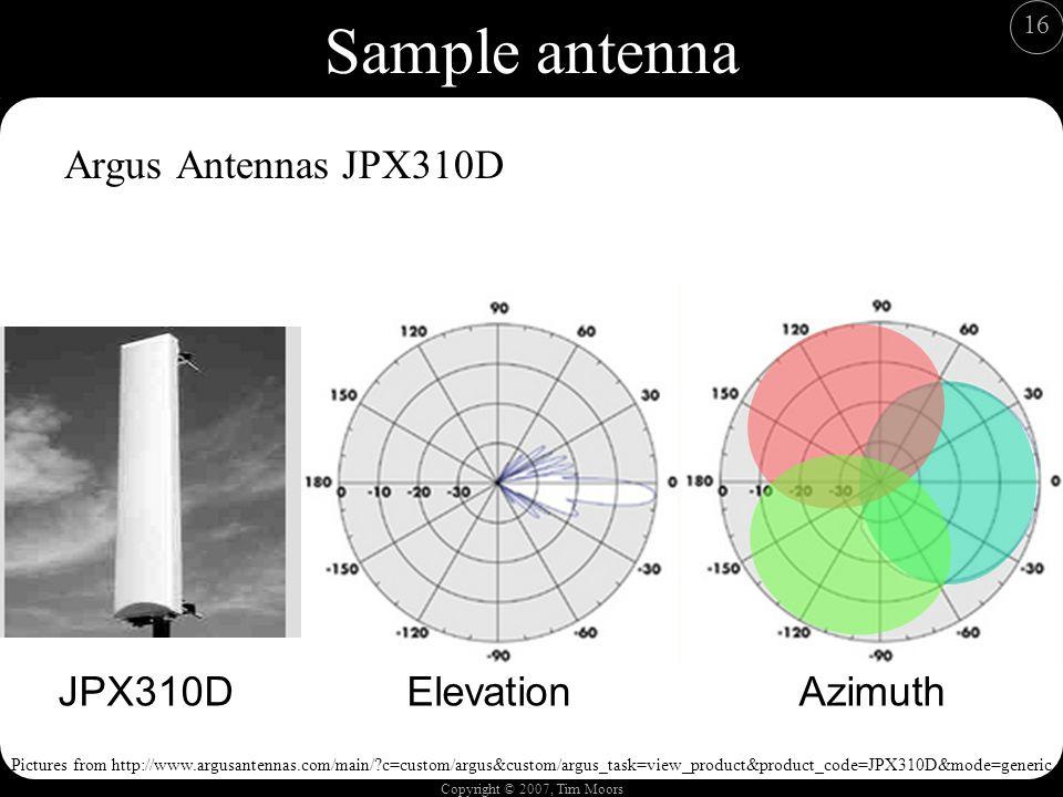 Copyright © 2007, Tim Moors 16 Sample antenna Argus Antennas JPX310D JPX310DAzimuthElevation Pictures from http://www.argusantennas.com/main/ c=custom/argus&custom/argus_task=view_product&product_code=JPX310D&mode=generic