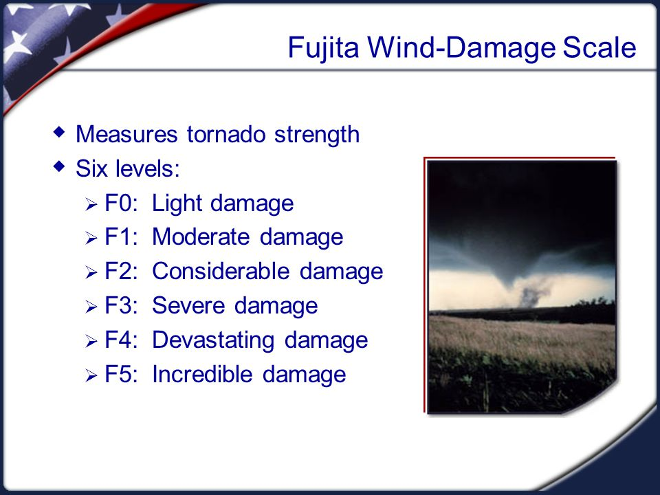 Fujita Wind-Damage Scale Measures tornado strength Six levels: F0: Light damage F1: Moderate damage F2: Considerable damage F3: Severe damage F4: Deva