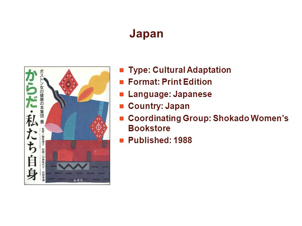 Japan Type: Cultural Adaptation Format: Print Edition Language: Japanese Country: Japan Coordinating Group: Shokado Womens Bookstore Published: 1988