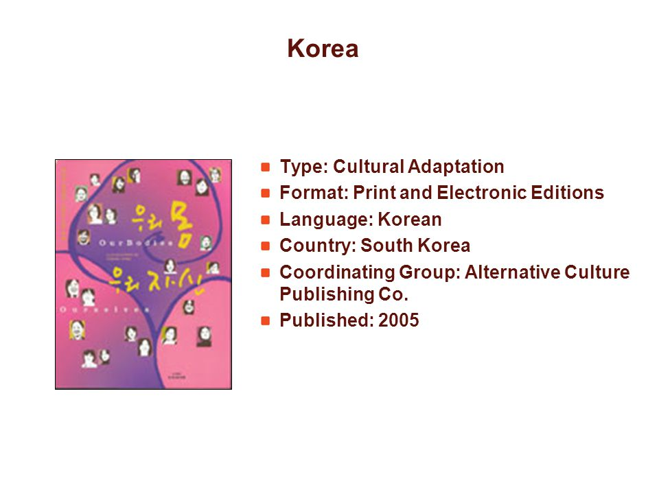 Korea Type: Cultural Adaptation Format: Print and Electronic Editions Language: Korean Country: South Korea Coordinating Group: Alternative Culture Pu