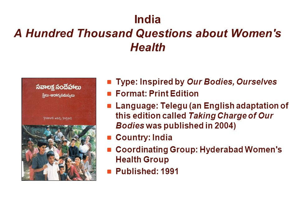 India A Hundred Thousand Questions about Women's Health Type: Inspired by Our Bodies, Ourselves Format: Print Edition Language: Telegu (an English ada