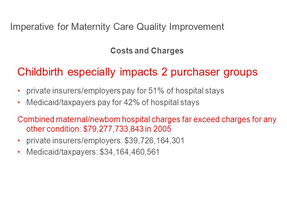 Imperative for Maternity Care Quality Improvement Costs and Charges Childbirth especially impacts 2 purchaser groups private insurers/employers pay for 51% of hospital stays Medicaid/taxpayers pay for 42% of hospital stays Combined maternal/newborn hospital charges far exceed charges for any other condition: $79,277,733,843 in 2005 private insurers/employers: $39,726,164,301 Medicaid/taxpayers: $34,164,460,561