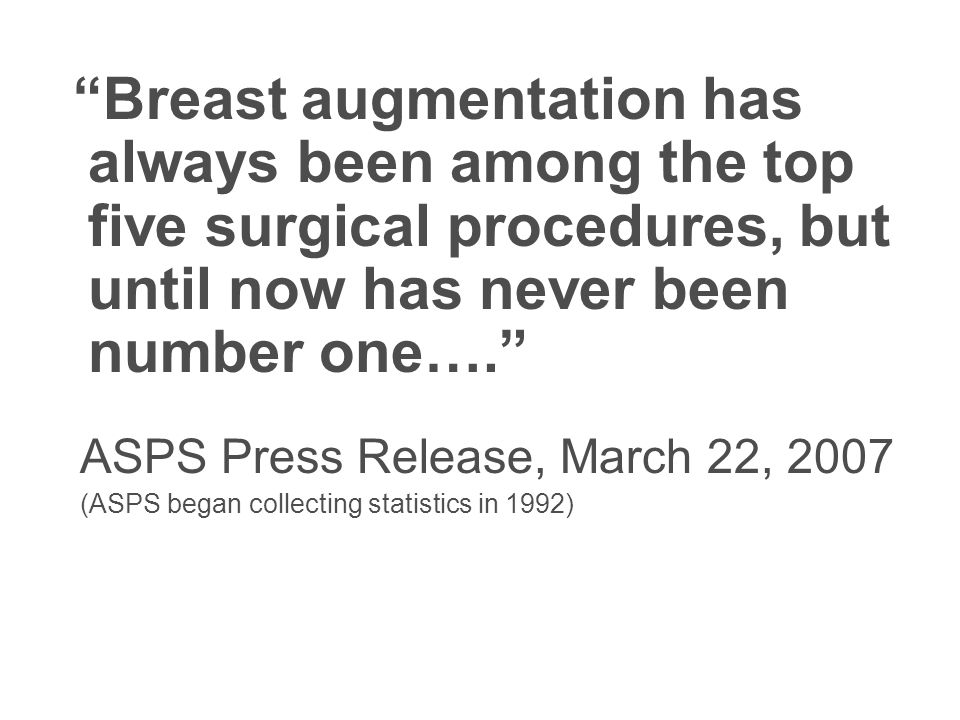 Breast augmentation has always been among the top five surgical procedures, but until now has never been number one…. ASPS Press Release, March 22, 20