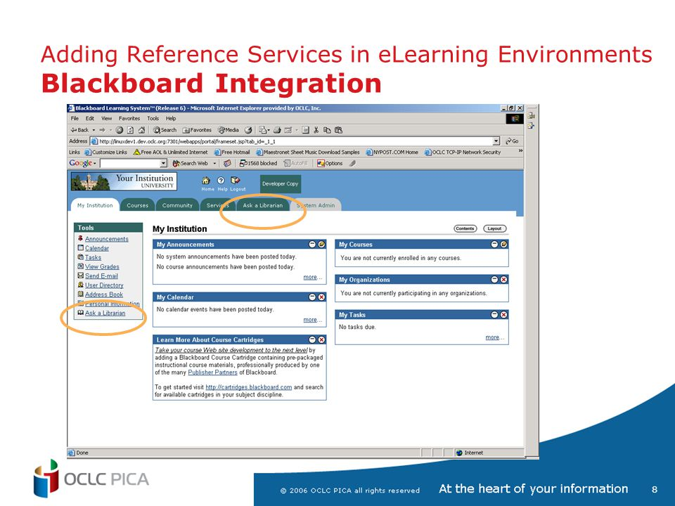 8 Adding Reference Services in eLearning Environments Blackboard Integration