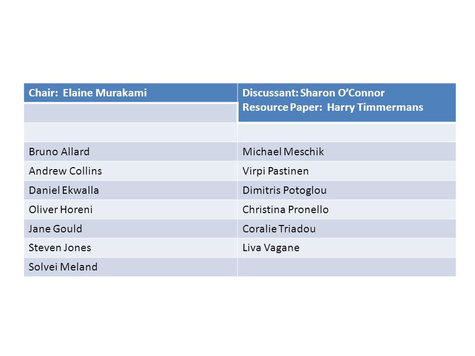 Chair: Elaine MurakamiDiscussant: Sharon OConnor Resource Paper: Harry Timmermans Bruno AllardMichael Meschik Andrew CollinsVirpi Pastinen Daniel Ekwa
