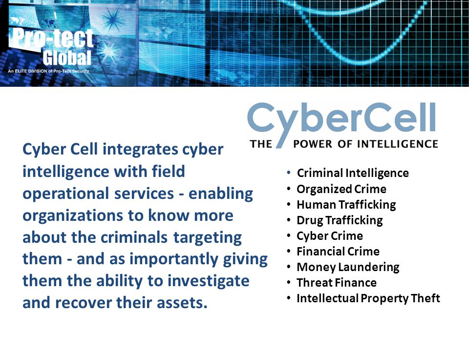 Cyber Cell integrates cyber intelligence with field operational services - enabling organizations to know more about the criminals targeting them - an
