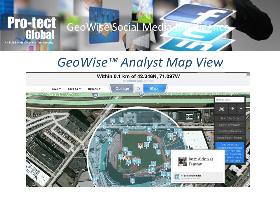 GeoWise Analyst Map View GeoWise Social Media Intelligence
