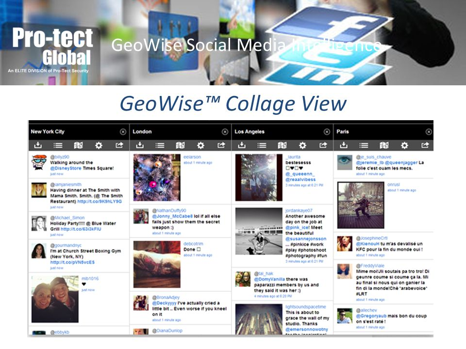 GeoWise Collage View GeoWise Social Media Intelligence