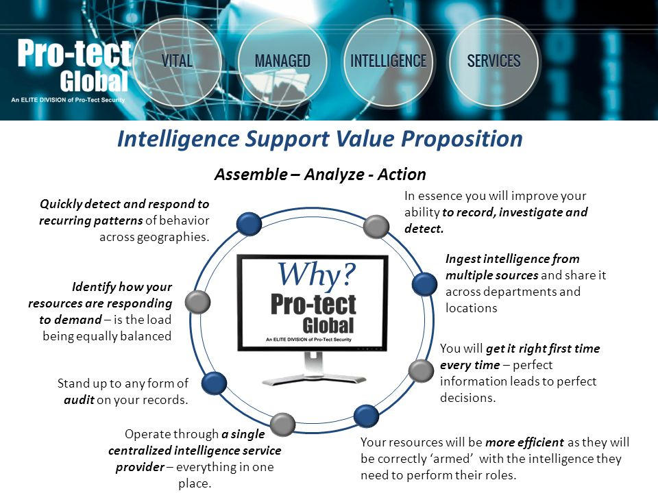 Pro-Tect Global provides investigation intelligence support services for both government and commercial clients in a highly discreet manner.