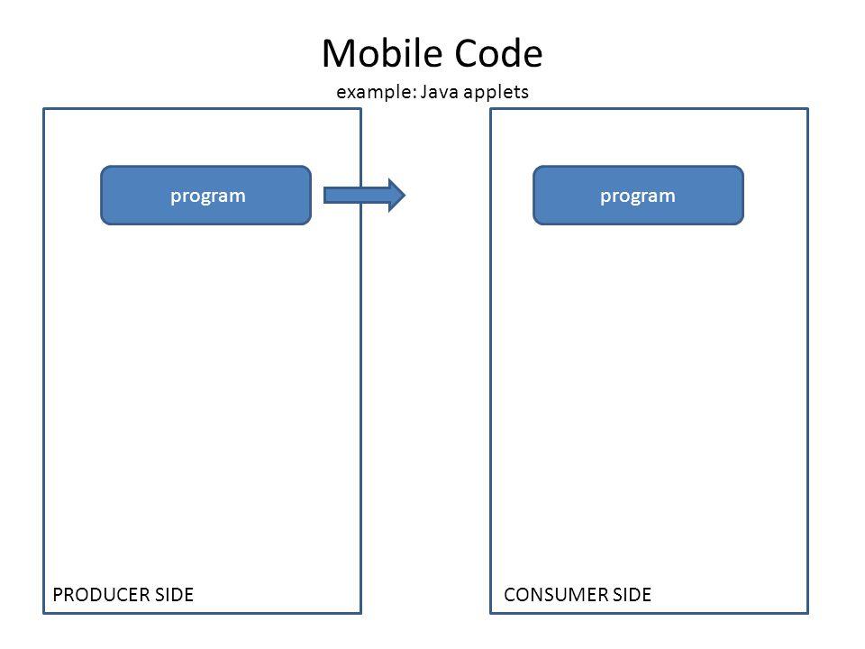 Mobile Code example: Java applets program PRODUCER SIDE CONSUMER SIDE