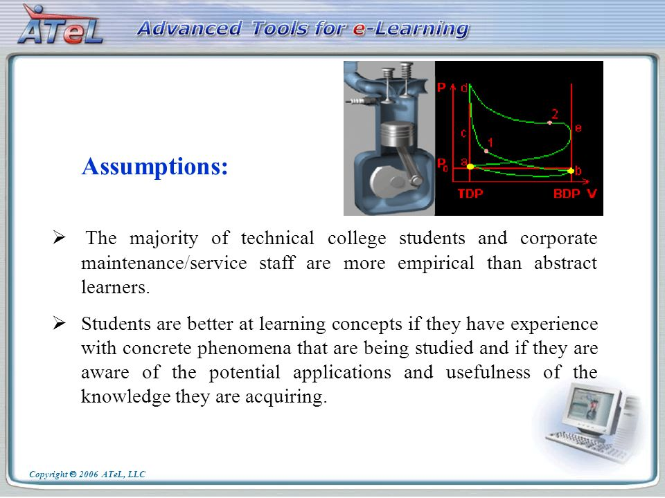 Realistic visualization, high interactivity and rich functionality of the ATeLs educational modules and components help teachers to: spark students interest and engaged them in learning science, technology and engineering, introduce complex and sometimes abstract concepts in the context of familiar real-world processes, devices and situations.