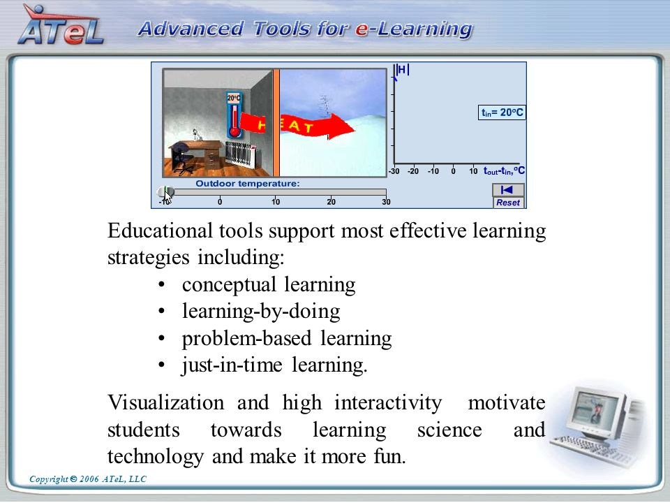 Educational tools support most effective learning strategies including: conceptual learning learning-by-doing problem-based learning just-in-time learning.