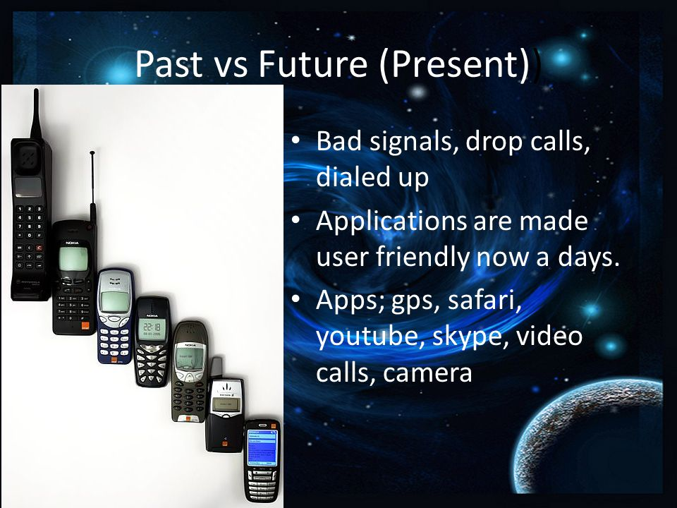 Past vs Future (Present)) Bad signals, drop calls, dialed up Applications are made user friendly now a days.