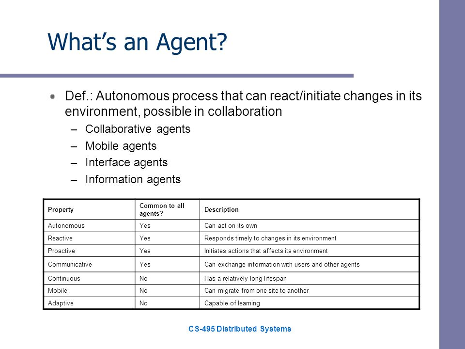 CS-495 Distributed Systems Whats an Agent.